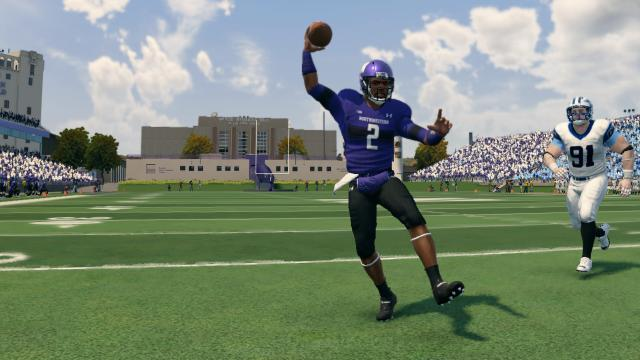 Northwestern quarterback Kain Colter rolled out of the pocket to throw this pass, hitting Kyle Prater for a touchdown.