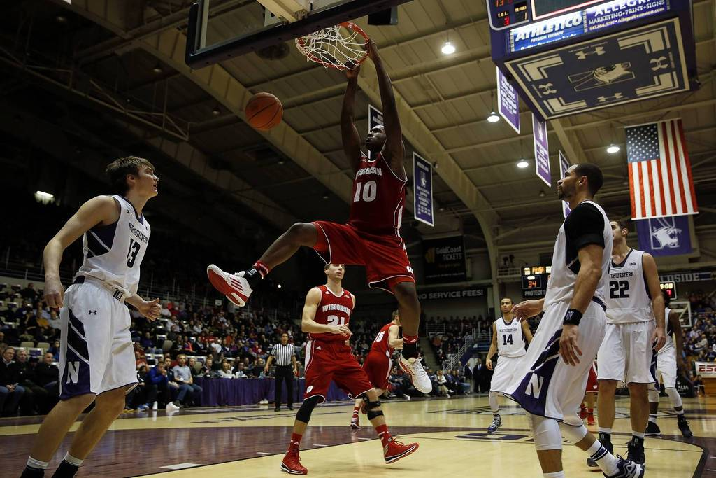 Nigel Hayes outscored Northwestern's team in the first half the last time Wisconsin visited Welsh-Ryan. What will he and the Badgers do for an encore? Photo credit: Scott Strazzante, Chicago Tribune.