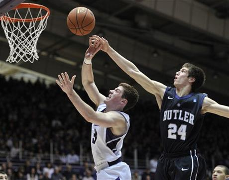 WNUR's Ben Goren and Jason Dorow discuss basketball in their latest podcast, including why Dave Sobolewski got so many minutes against Butler. Photo credit: Jim Prisching, AP