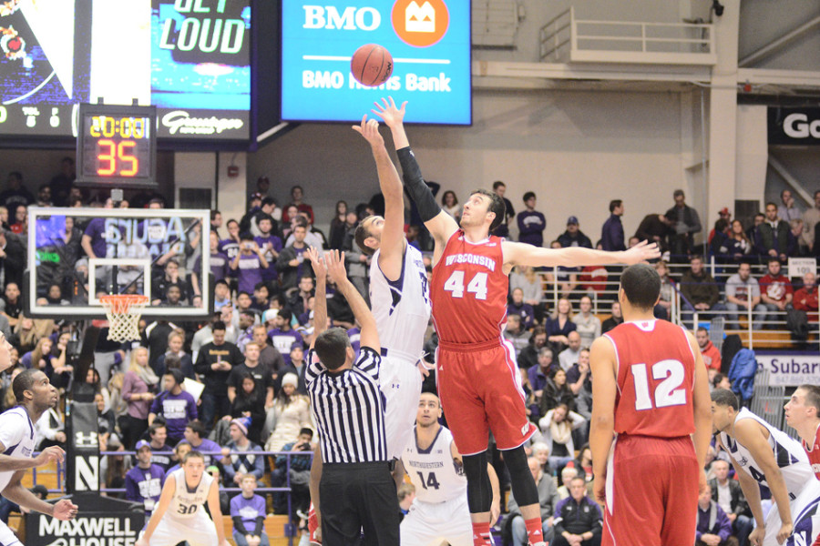 Frank Kaminsky and Alex Olah battled for the jump ball in Evanston in early January. The big men go toe-to-toe again Saturday in Madison.Photo credit: Sean Su, Daily Northwestern