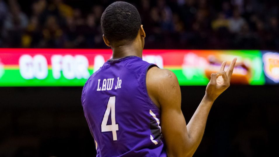 Vic Law was Big Ten Freshman of the Week, and rightfully so. Law hit three triples at Minnesota and posted his first career double-double against Penn State. Photo credit: Brad Rempel, USA Today Sports.