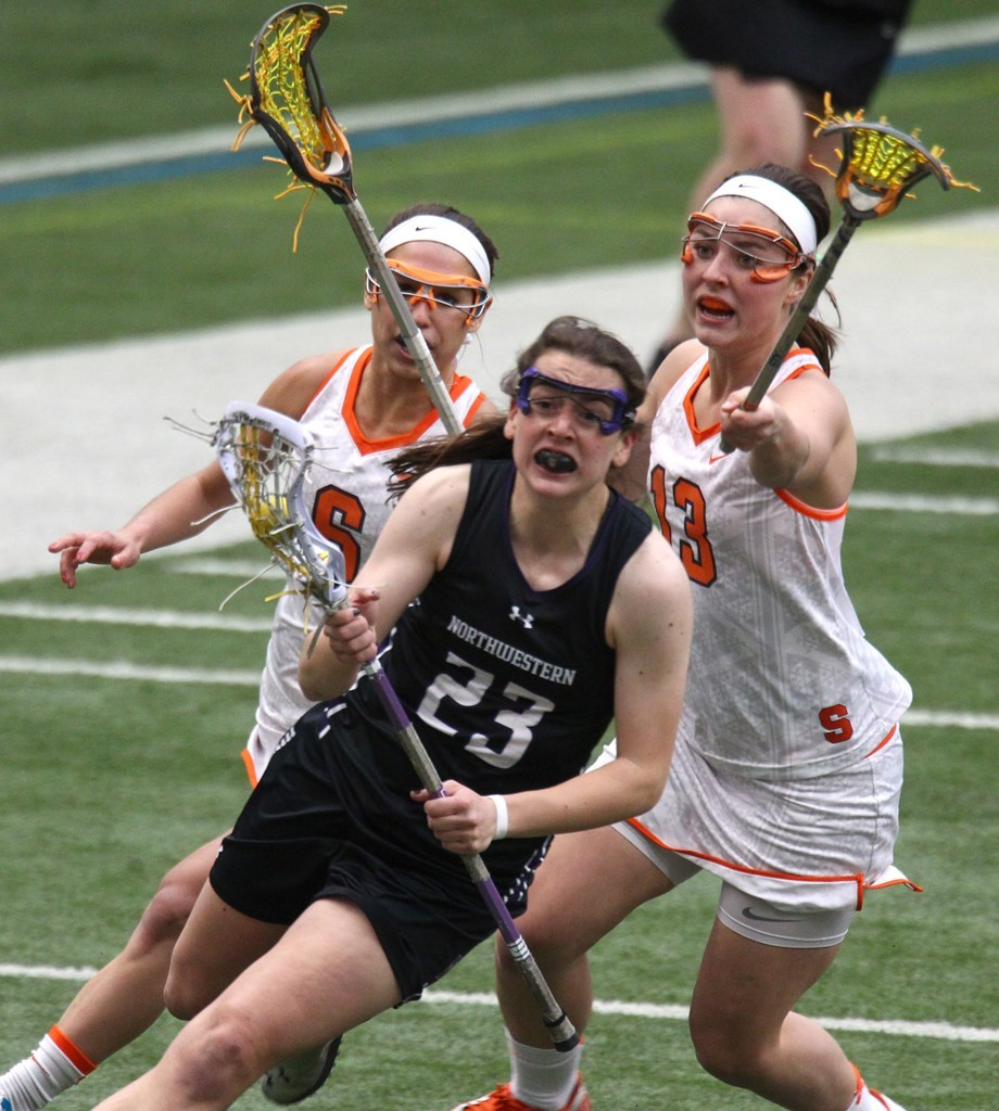 Northwestern's Lauren Murray tallied four draw controls last year at Syracuse, and the Wildcats will need even more from her in this year's matchup following Alyssa Leonard's graduation. Photo credit: Syracuse athletics.