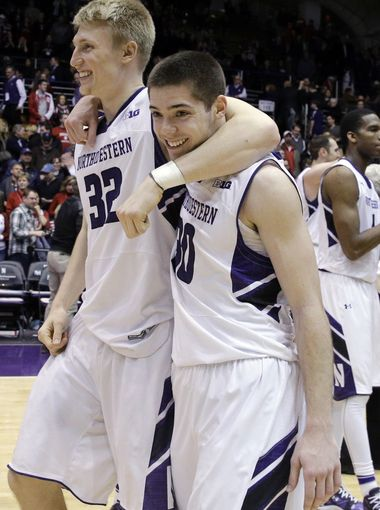 Nate Taphorn and Bryant McIntosh were all smiles following the Wildcats' fourth straight win. We're all smiles thanks to another edition of the Goren and Dorow podcast! Photo credit: Nam Y. Huh, AP.