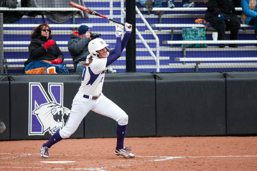 Andrea Filler delivered 12 RBI in five games this week for Northwestern softball. The Wildcats' RBI leader was the Big Ten's player of the week. Photo credit: Nathan Richards, Daily Northwestern.
