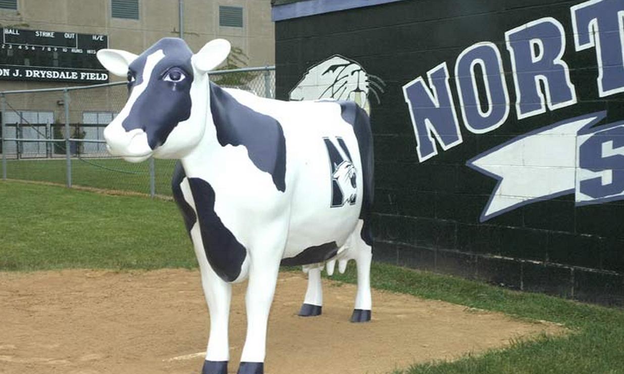 Northwestern softball's purple cow. Photo cred: Nusports.com