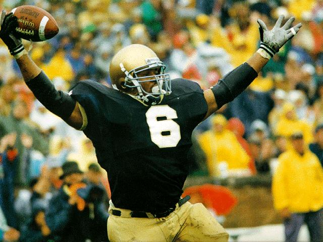 It can't have been fun to tackle Jerome Bettis when he was playing for Notre Dame. The Bus leads the Irish to number three on our list.