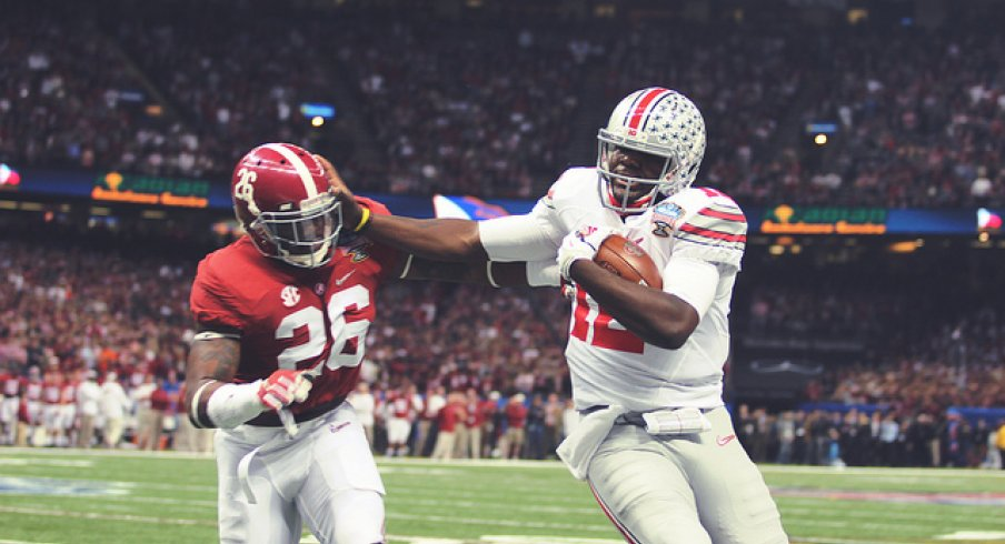Cardale Jones pushed around Landon Collins in the Sugar Bowl. Jones is 23 and playing as a redshirt junior, Collins is 21 and a rookie for the New York Giants.