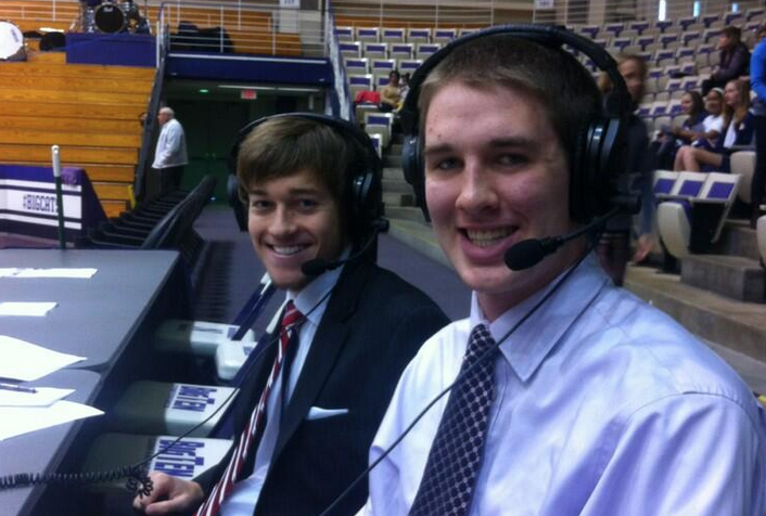 Erik Bremer and Jason Dorow before a 2013 broadcast of Northwestern volleyball.